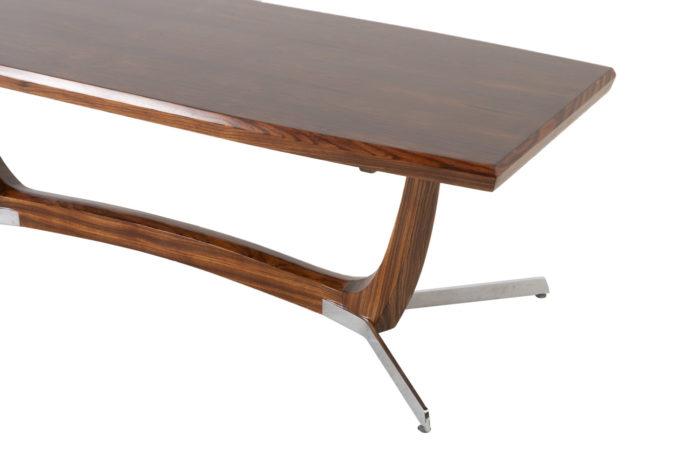 table basse palissandre métal zoom piètement plateau