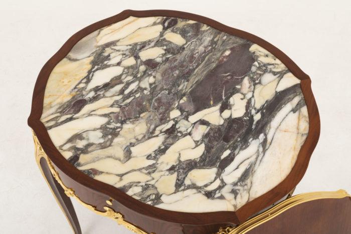 table bouillotte style louis xv marbre brèche médicis