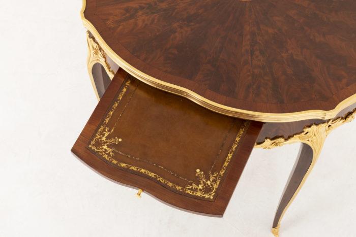 table bouillotte style louis xv tirette cuir