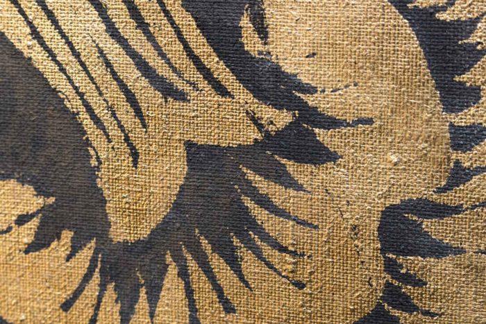 toile portrait femme renaissance détail fleur or