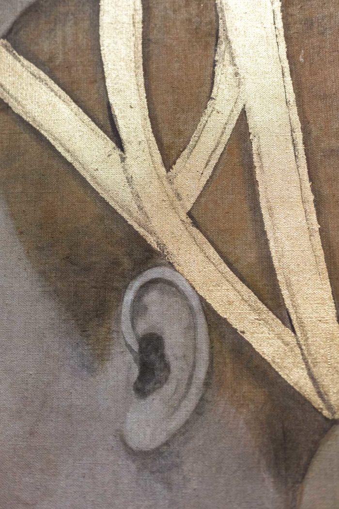 toile portrait femme renaissance ruban cheveux