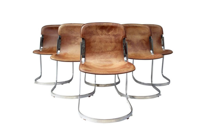 willy rizzo six chaises cuir métal