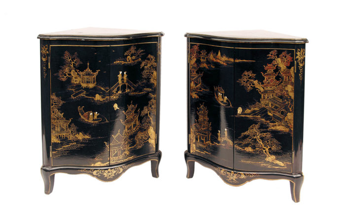 corner cabinets black lacquer gilt decor prcpl