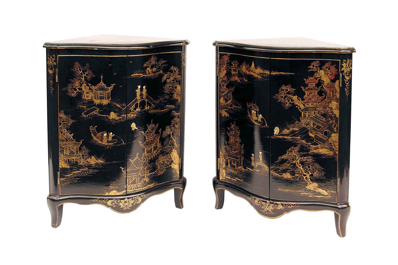 Corner Cabinets Black Lacquer Gilt Decor Prcpl