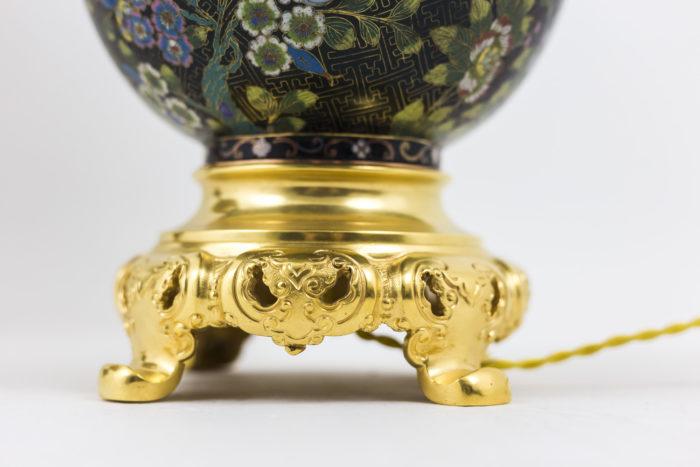lampe émaux cloisonnés base bronze doré