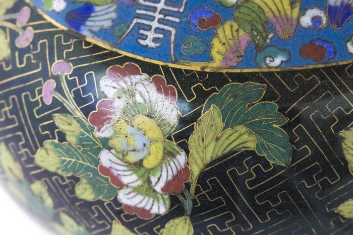 lampe émaux cloisonnés fleur chrysanthème