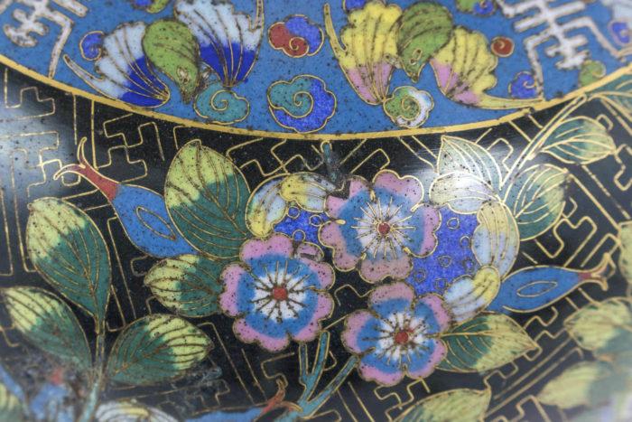 lampe émaux cloisonnés fleurs hibiscus