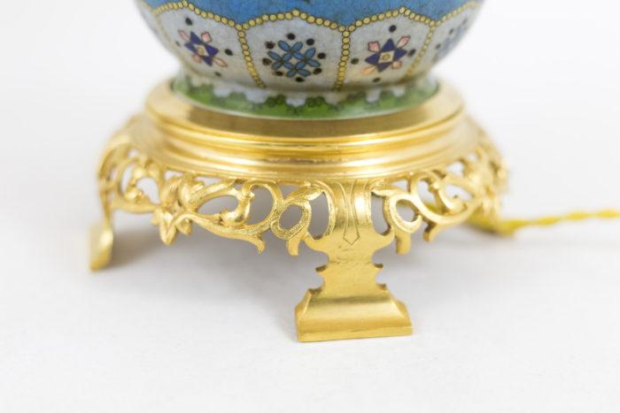 lampes émail cloisonné base bronze doré