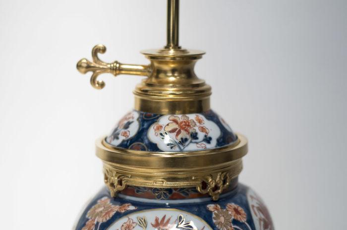 lampes porcelaine imari ancien bouton allumage