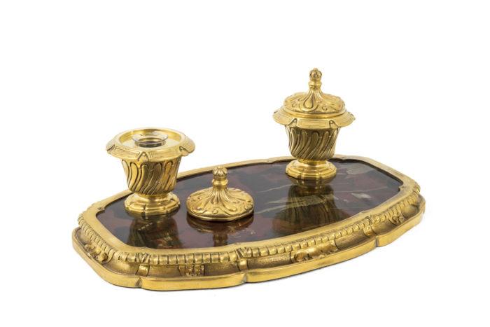 encrier bronze doré laque 3_4 couvercle amovible