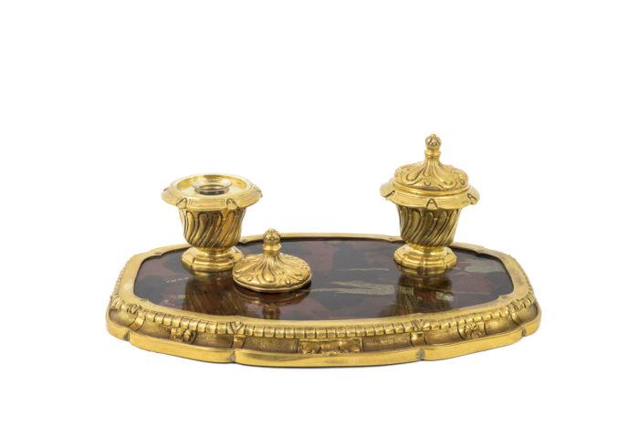 encrier bronze doré laque couvercle amovible