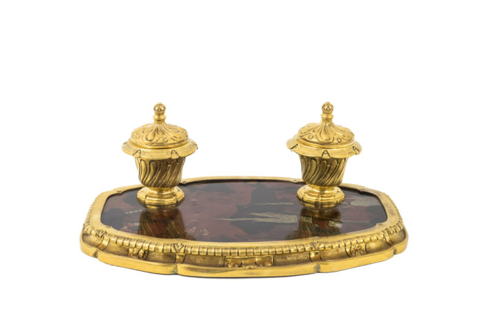 encrier bronze doré laque prcpl