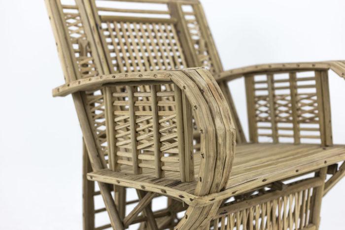 fauteuil ethnique bambou accotoirs