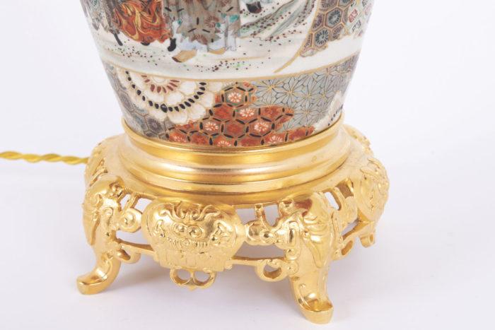 lampe faience satsuma base bronze doré