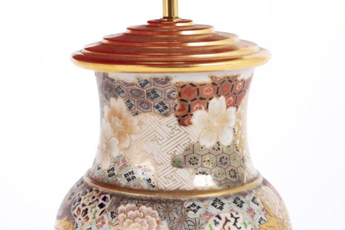 lampe faience satsuma col motifs géométriques