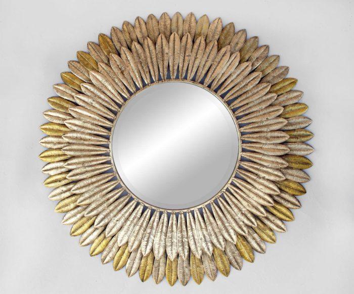 miroir plumes laiton face
