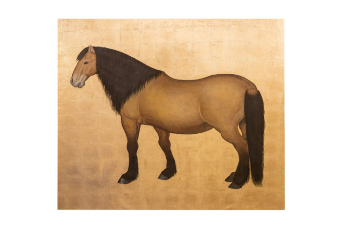 toile cheval bai fond doré prcpl