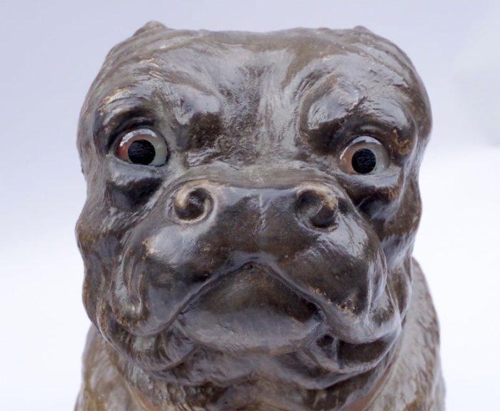 chien bouledogue céramique tête