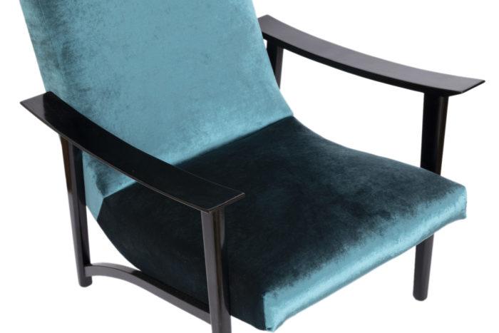 fauteuil scandinave velours bleu assise