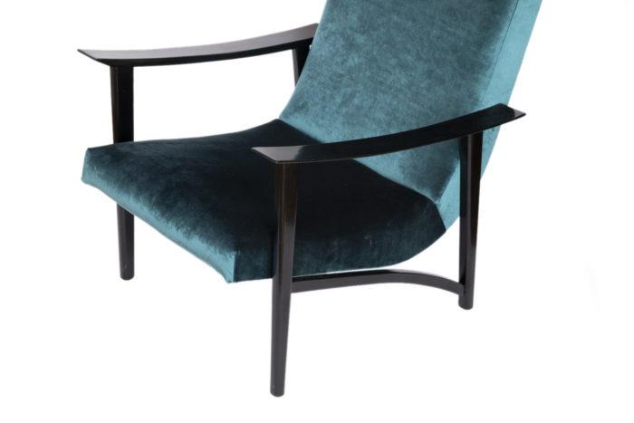fauteuil scandinave velours bleu bas