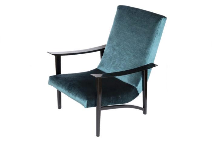 fauteuil scandinave velours bleu coté