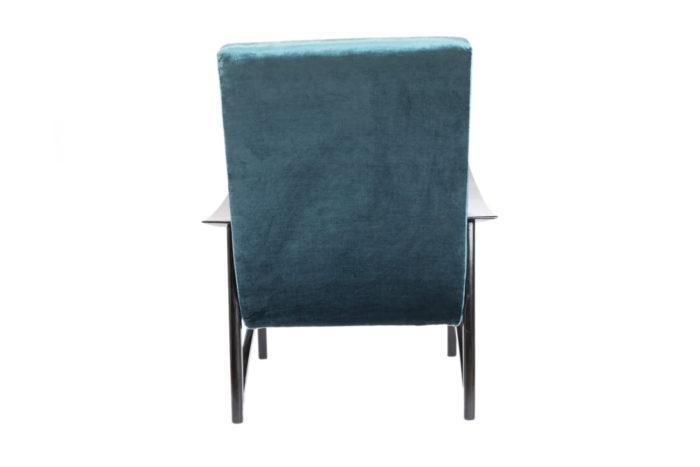 fauteuil scandinave velours bleu dos