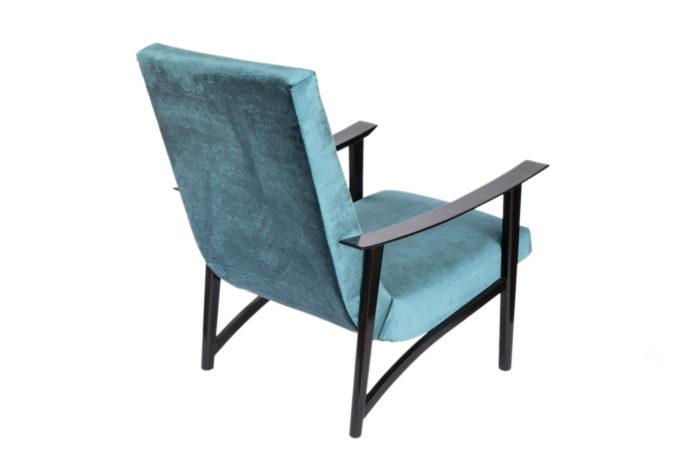 fauteuil scandinave velours bleu dos1