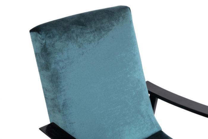 fauteuil scandinave velours bleu dossier