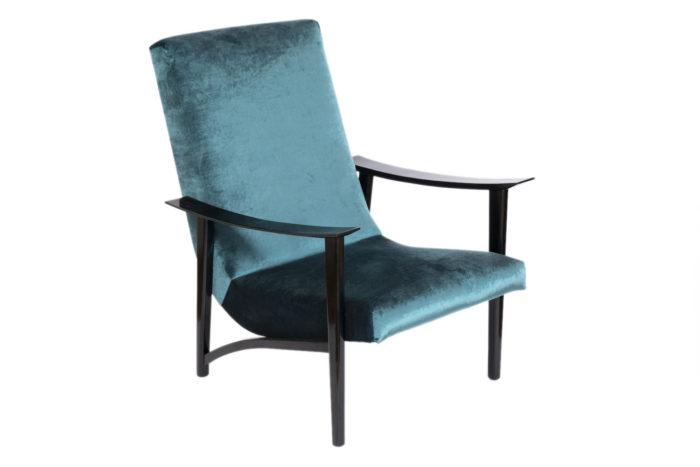 fauteuil scandinave velours bleu solo