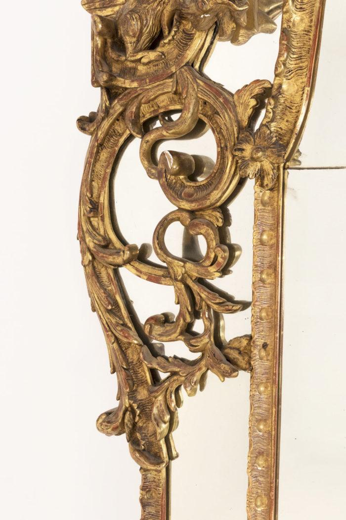 miroir parcloses régence fleurs