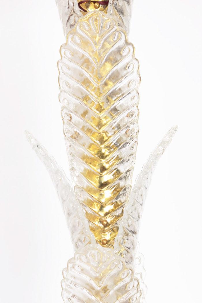lampadaire palmier verre laiton doré feuille