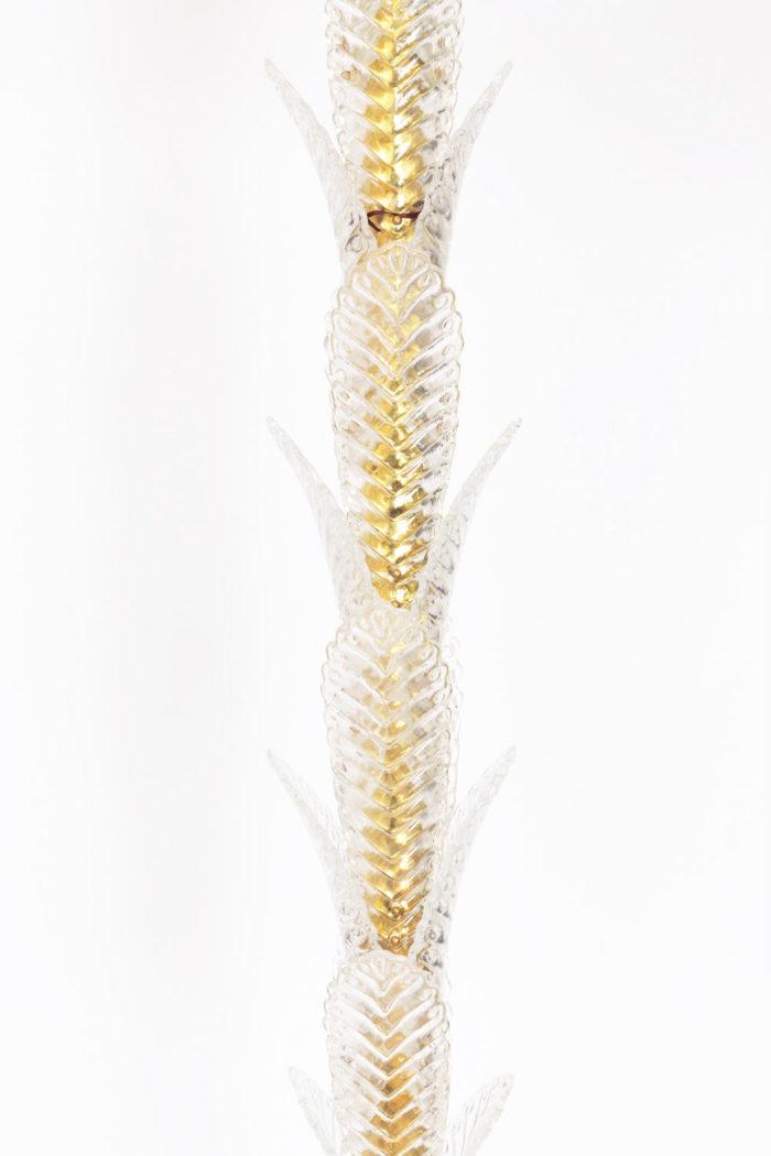 lampadaire palmier verre laiton doré fut milieu