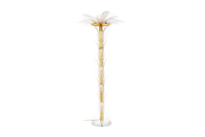 lampadaire palmier verre laiton doré pcpl