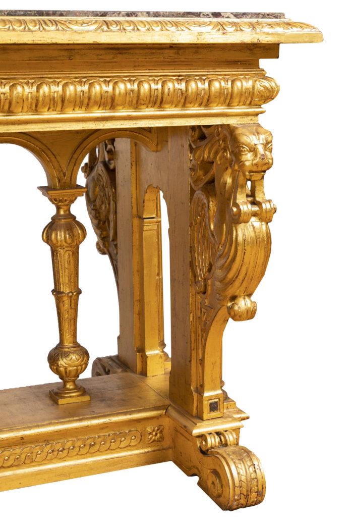 table style renaissance éventail bois doré