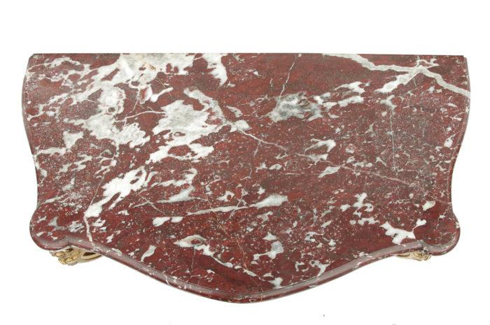 console style louis xv marbre griotte rouge de belgique