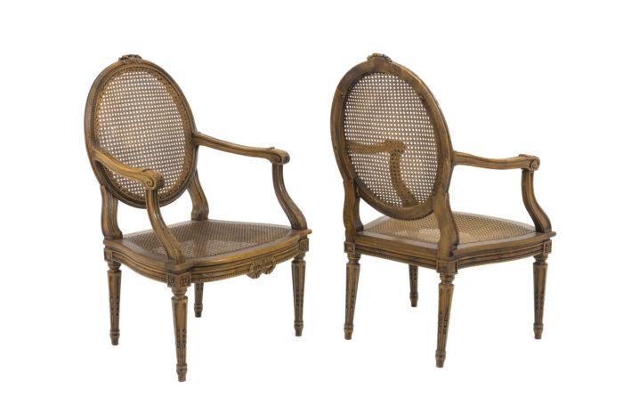 louis xvi style armchairs walnut cane