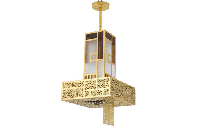 lanterne style oriental laiton doré verre prcpl