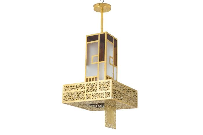 oriental style chandelier gilt brass glass prcpl
