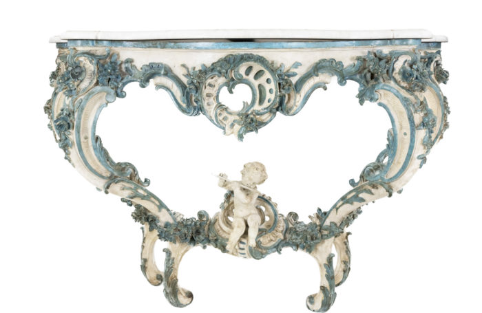 louis xv style console white and blue