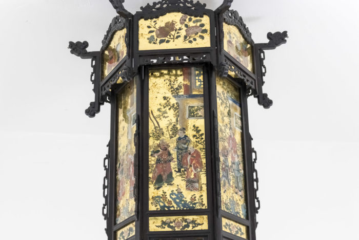 chinese style chandelier blackened wood