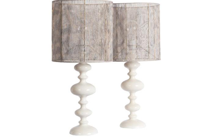 lampes bois tourné laqué blanc