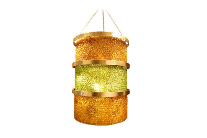 lantern green yellow glass