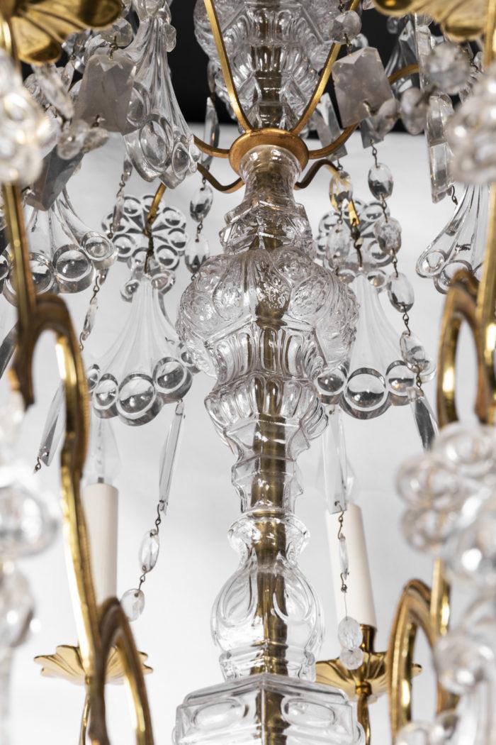 lustre bronze doré fût cristal