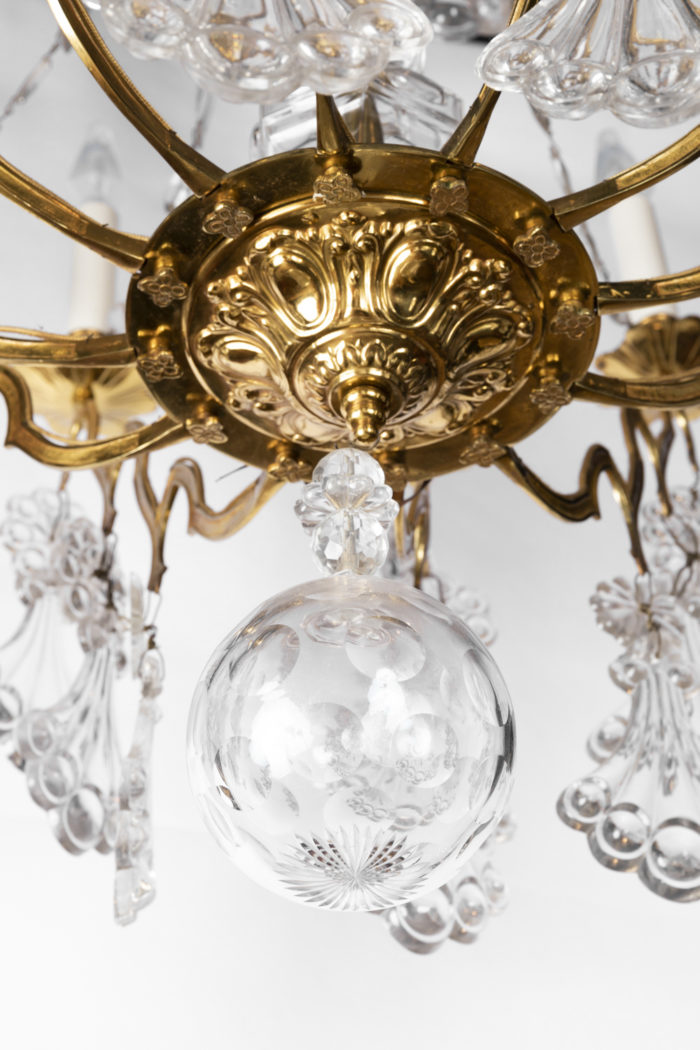 lustre cristal bronze ciselé doré