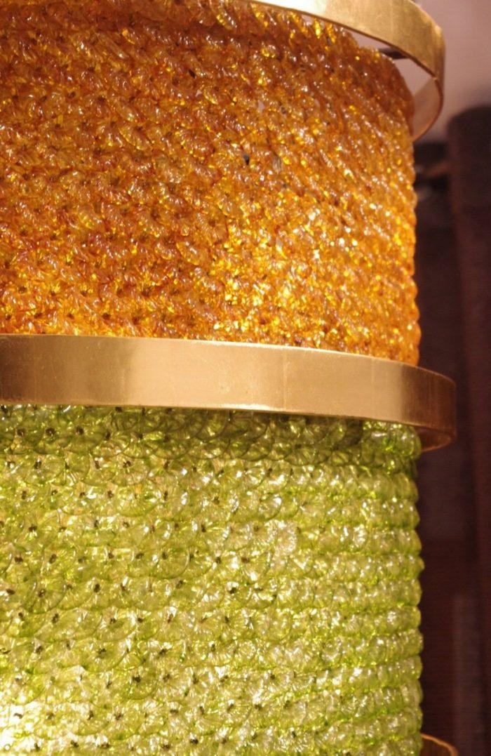 lantern glass yellow green gilt brass