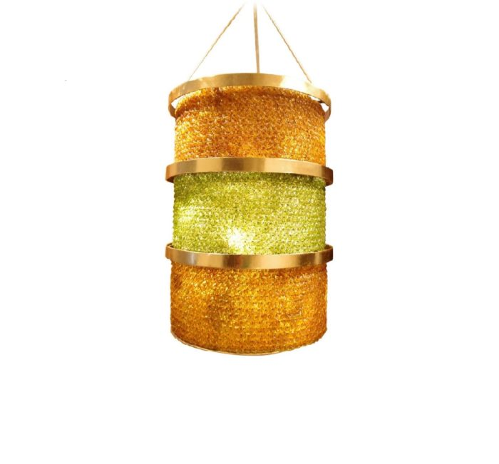 lantern glass yellow and green