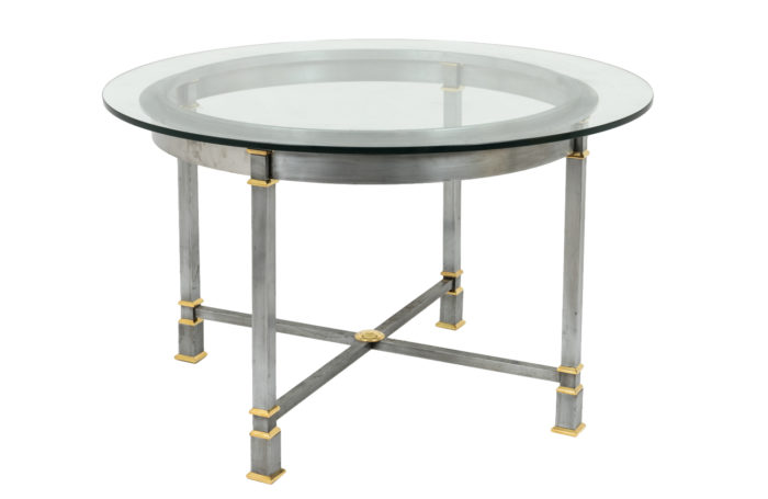 table brushed metal glass