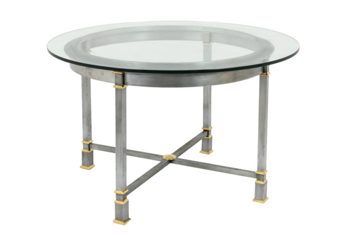 table métal brossé verre