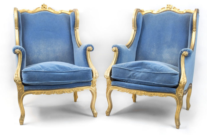 louis xv style wing back bergeres