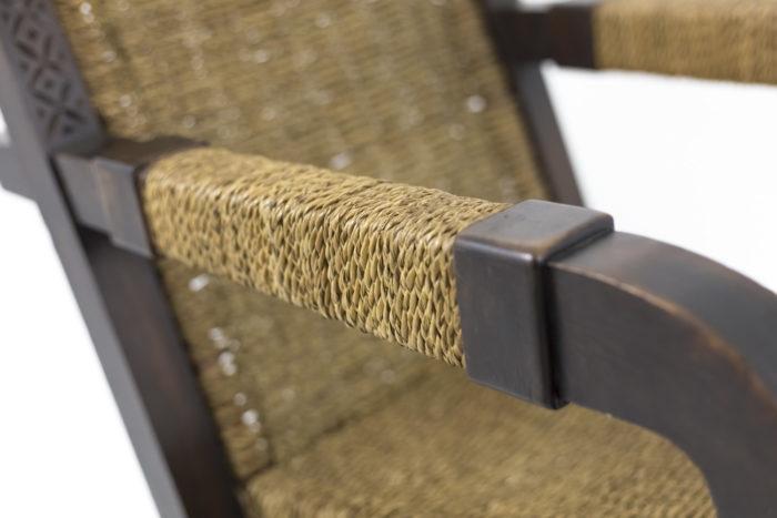 fauteuil art déco manchette corde accotoir